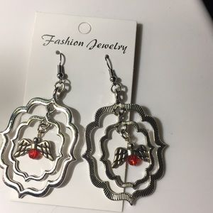 Jewelry - Red &silver toned Angel earrings